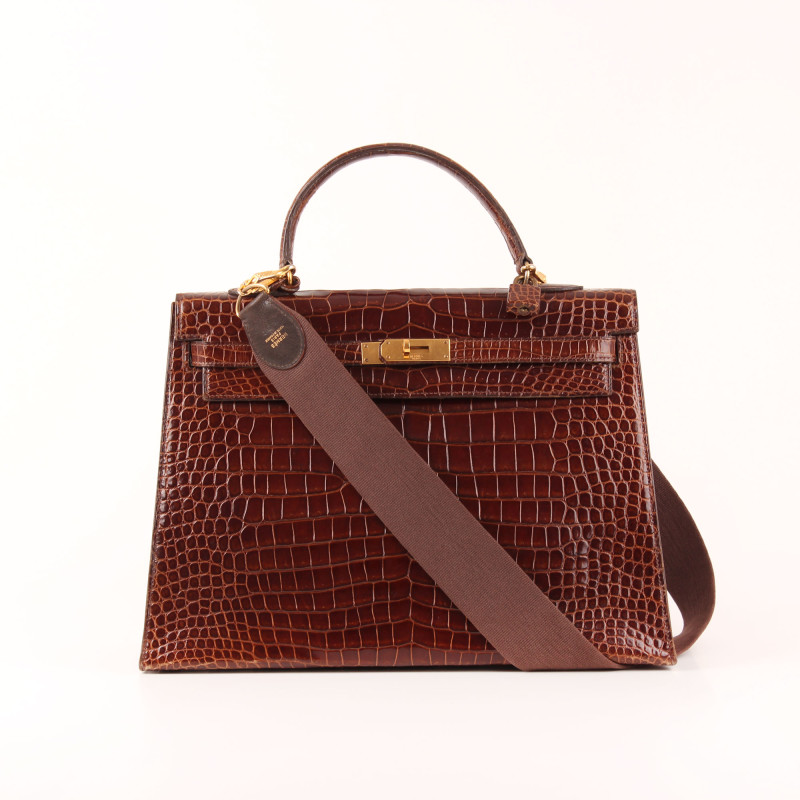 Kelly 35 Croco Marron