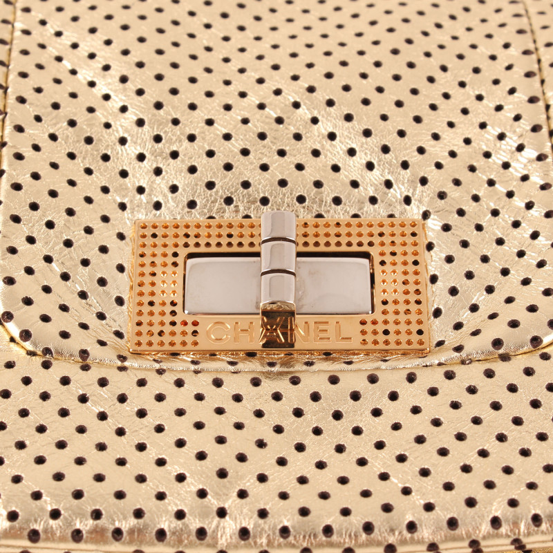 Chanel Crackled Perforated Calfskin Drill
