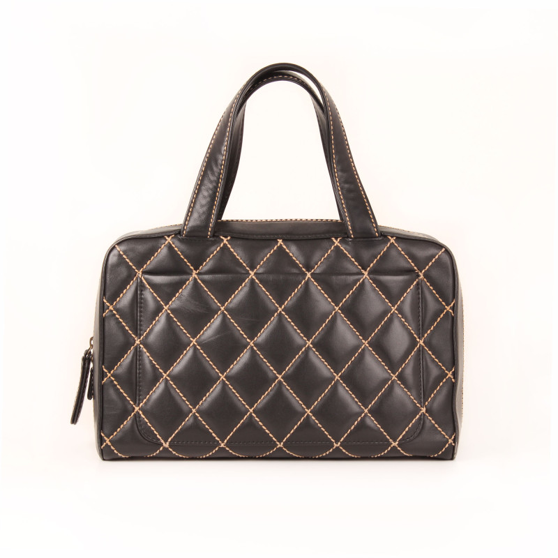 Chanel Black Surpique Wild Stitch Tote Bag