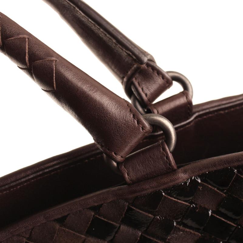 Bottega Veneta Brown Suede and Black Patent Intrecciato Large Tote